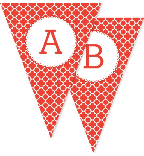 Red Quatrefoil Bunting Flags