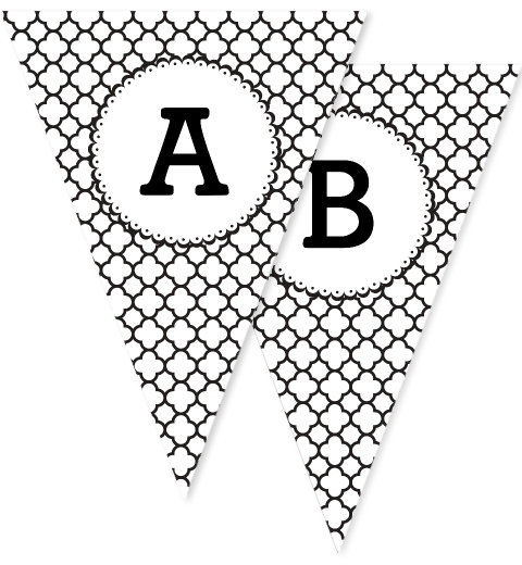 Black & White Quatrefoil Bunting Flags