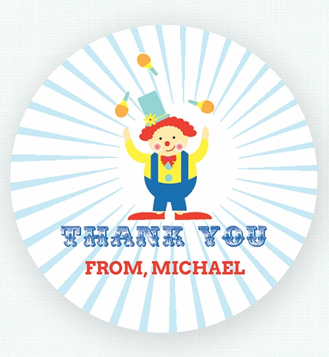 Classic Circus Birthday Party Thank-you Sticker