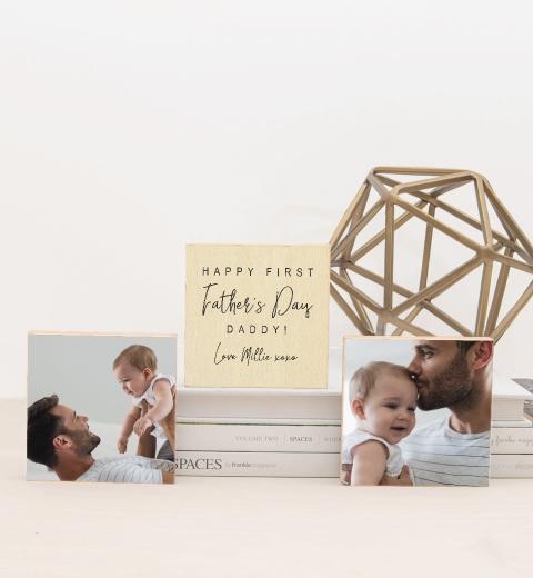 First Father's Day handwritten Photo Blocks
