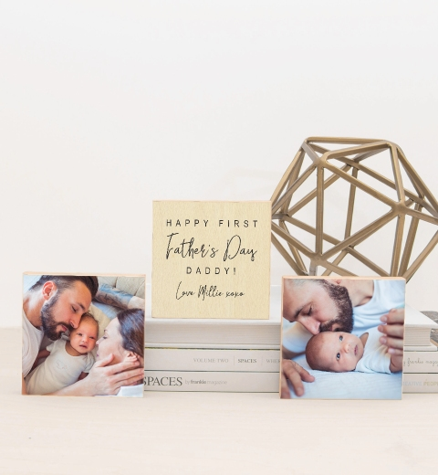 Happy First Father's Day Photo Blocks