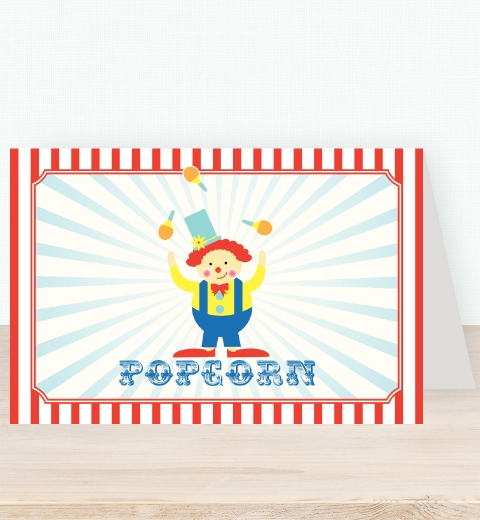 Classic Circus Birthday Party Tent Card