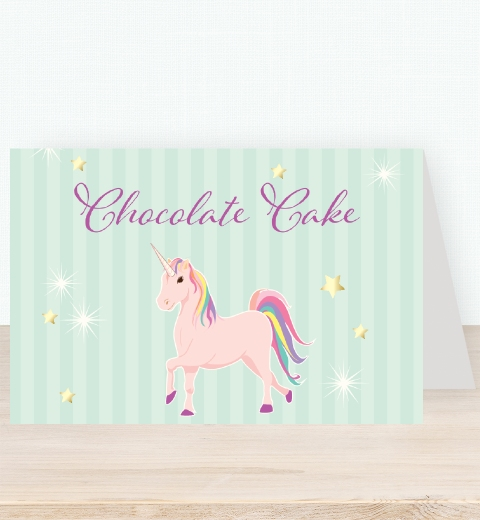 Unicorn Party Tent Card