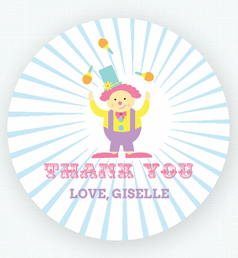 Pink Circus Birthday Party Thank-you Sticker