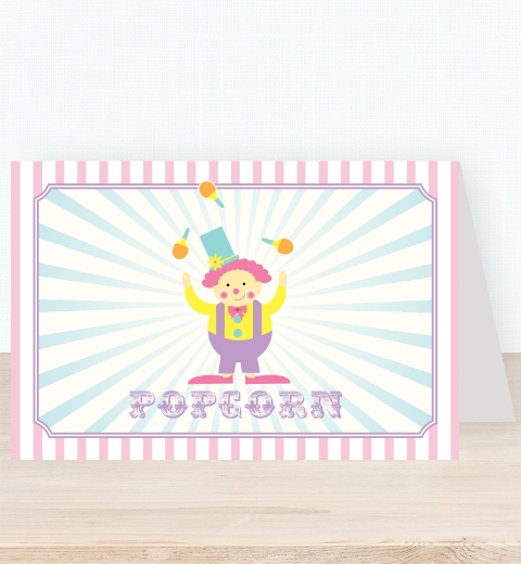 Pink Circus Birthday Party Tent Card