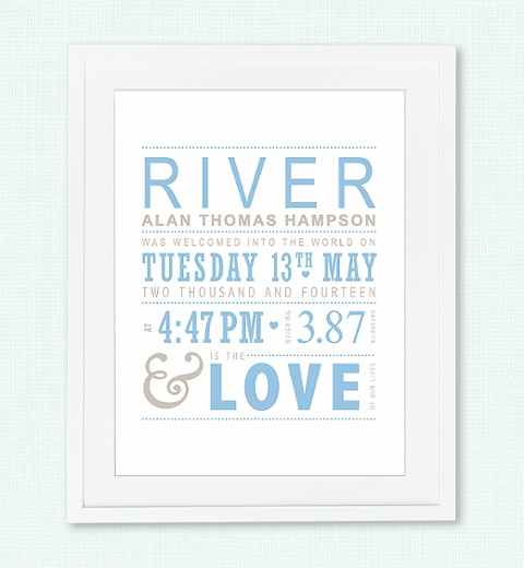 Typographic Baby Blue Birth Print