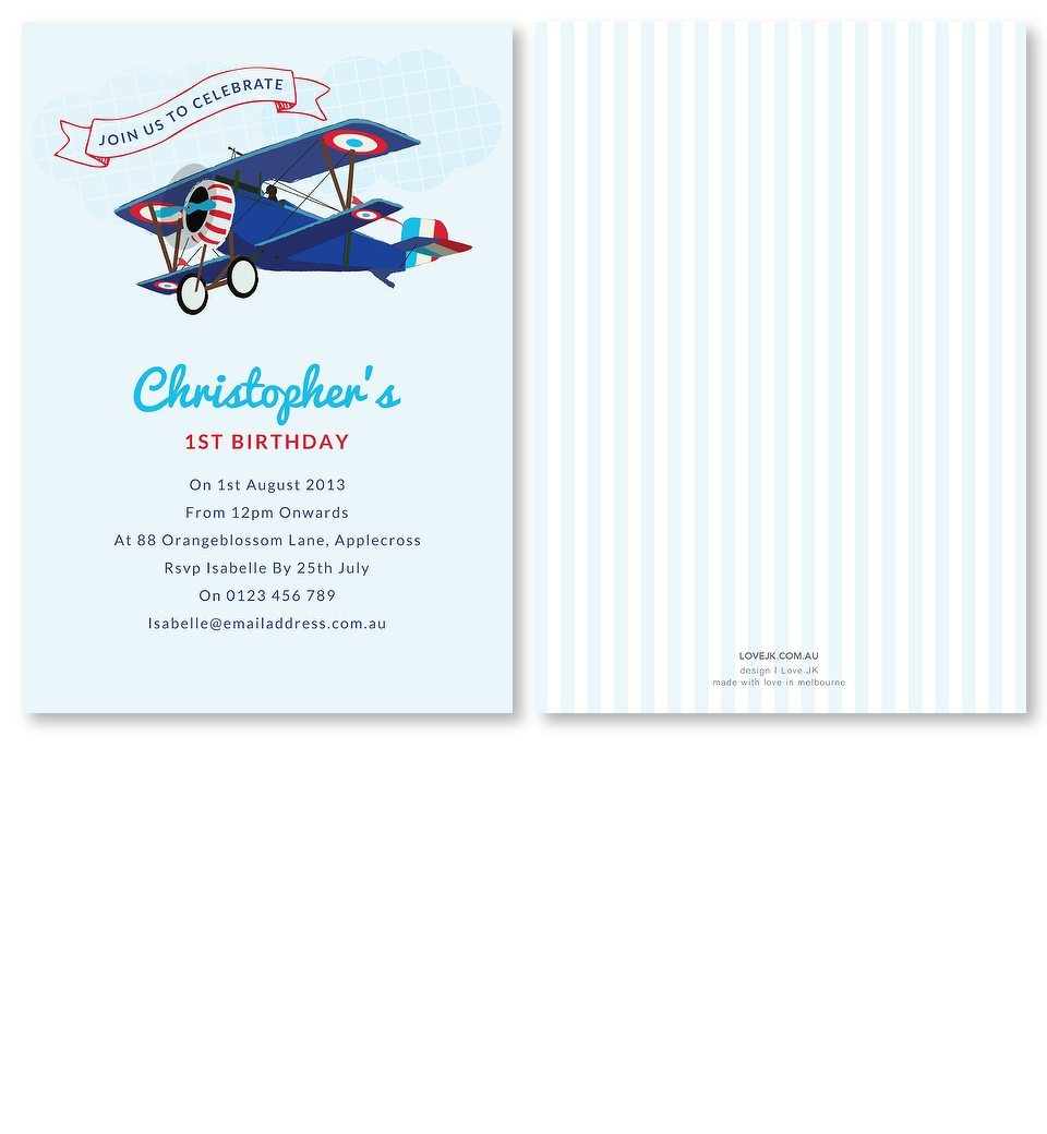 Aeroplane Birthday Invitation | Love JK
