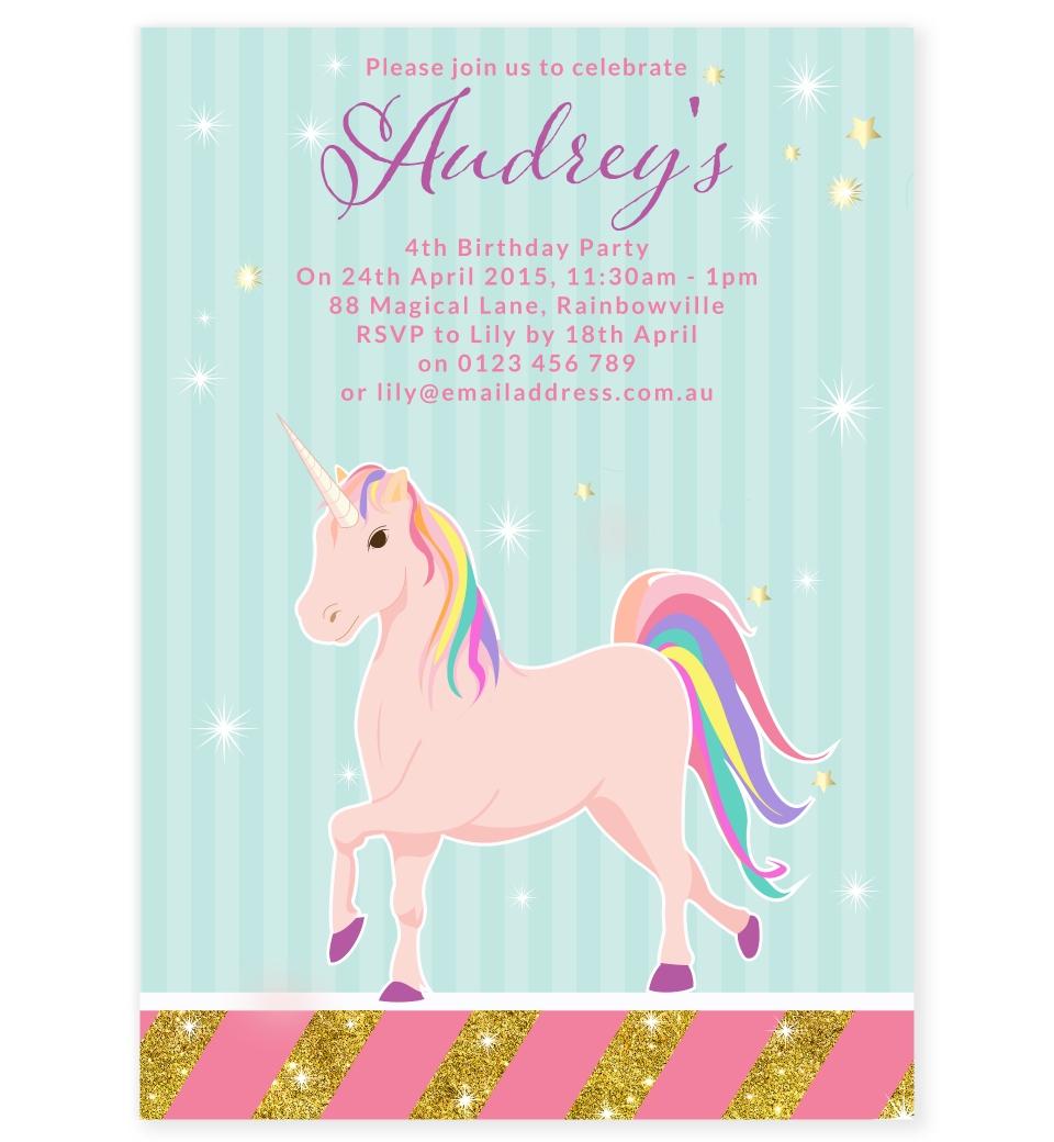 Unicorn Party Invitation Front
