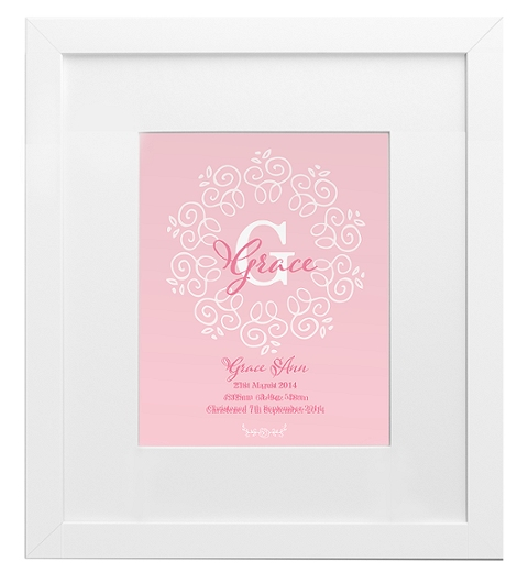 Decorative Monogram Birth Print in Pink