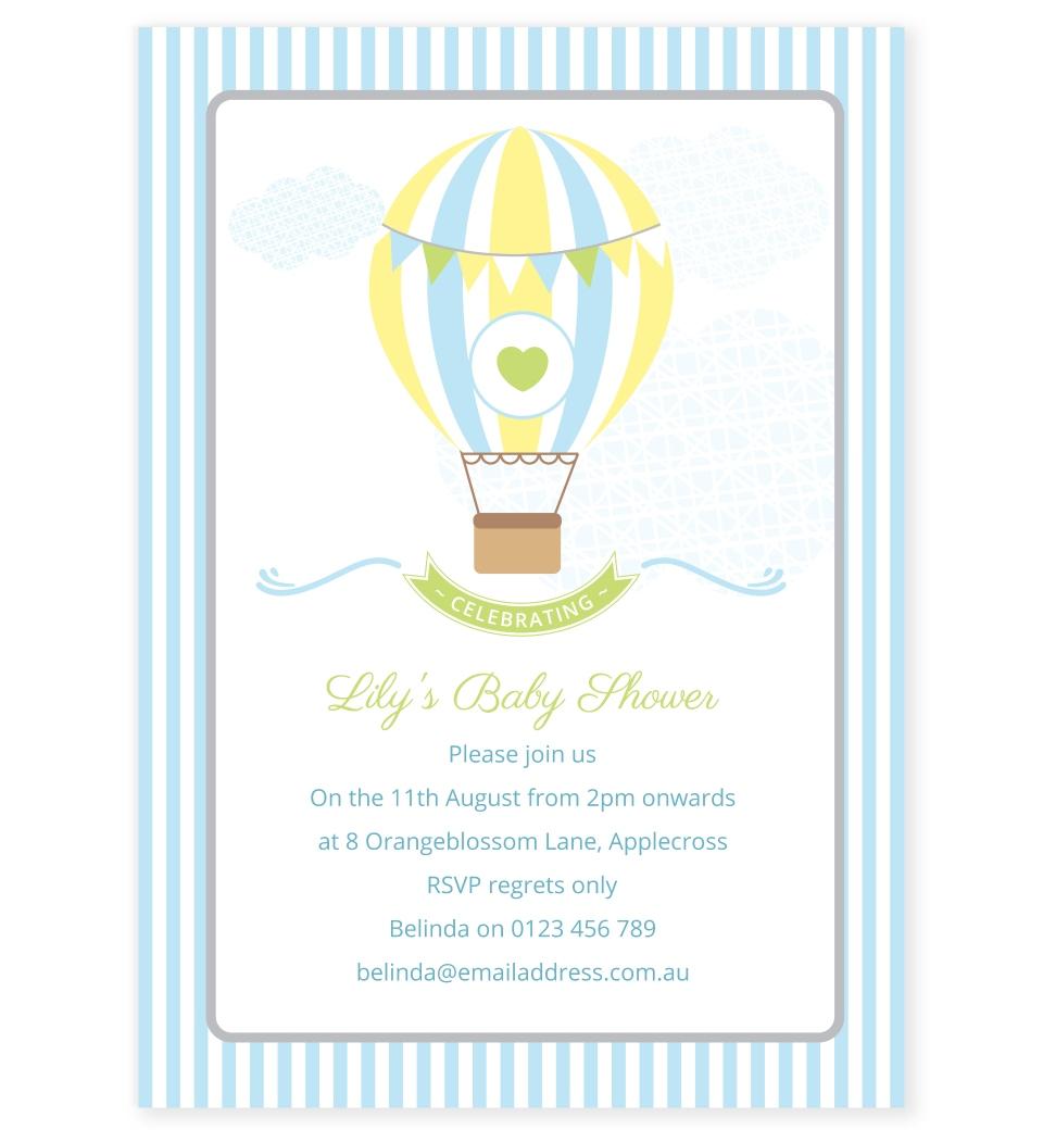 Blue Hot Air Balloon Baby Shower Invitation Love Jk