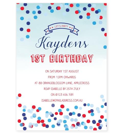 blue confetti birthday invitation love jk