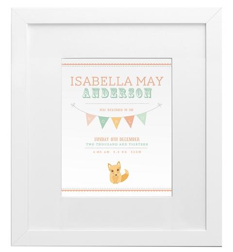 Fox Birth Print - Peach & Sage