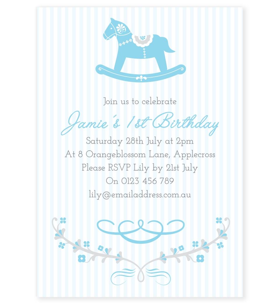 Blue Rocking Horse Birthday Invitation Love Jk
