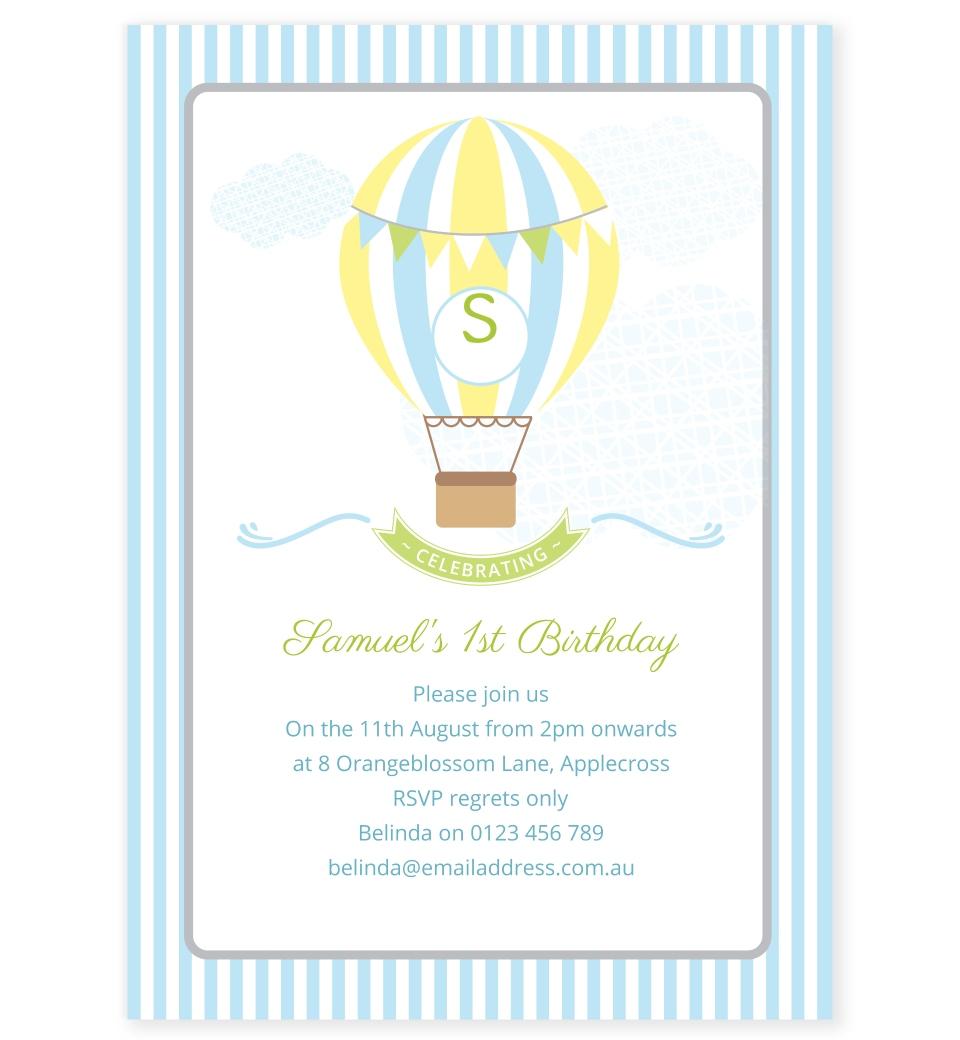 Blue Hot Air Balloon Birthday Invitation | Love JK