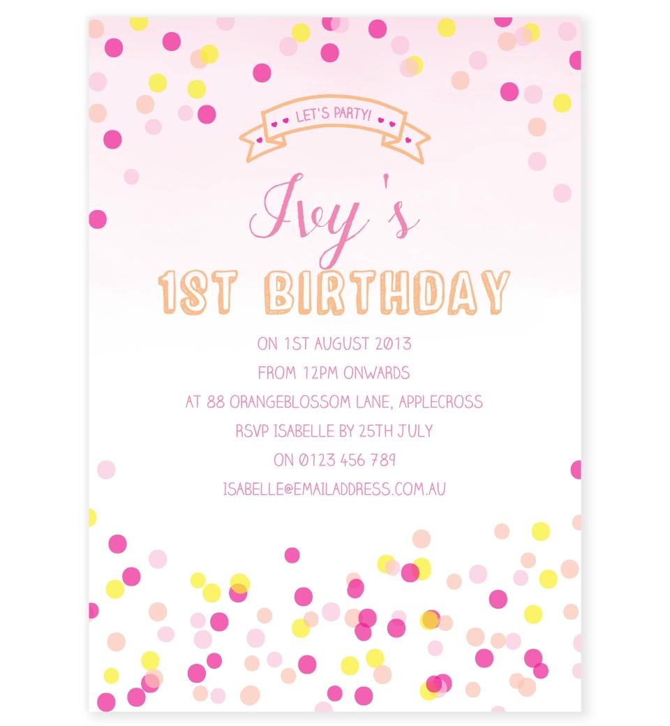 confetti birthday invitation pink yellow love jk