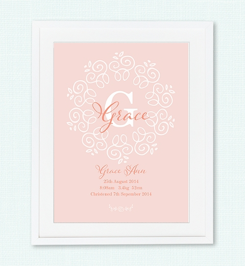 Decorative Monogram Birth Print in Peach