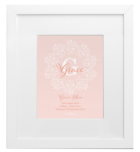Decorative Monogram Birth Print in Peach