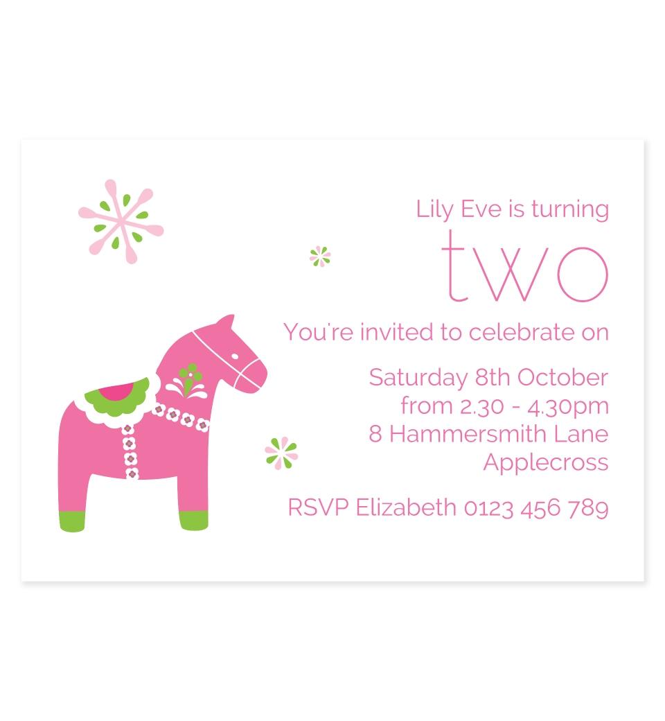 Dala Horse Invitations Pink