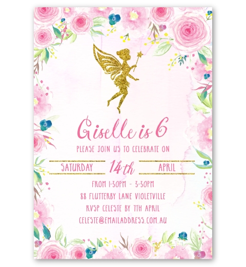 Floral Fairy Party Invitation