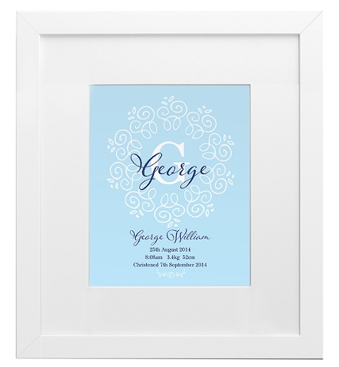 Decorative Monogram Birth Print in Blue