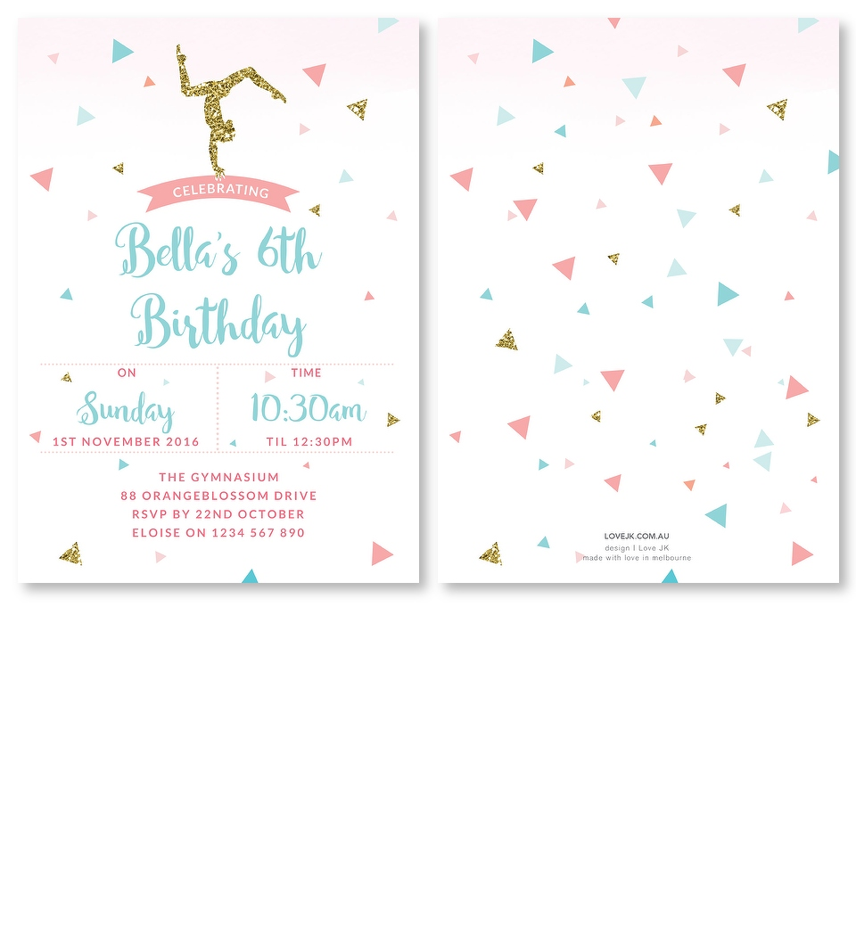 Gymnastics Party Theme Invitation | Love JK