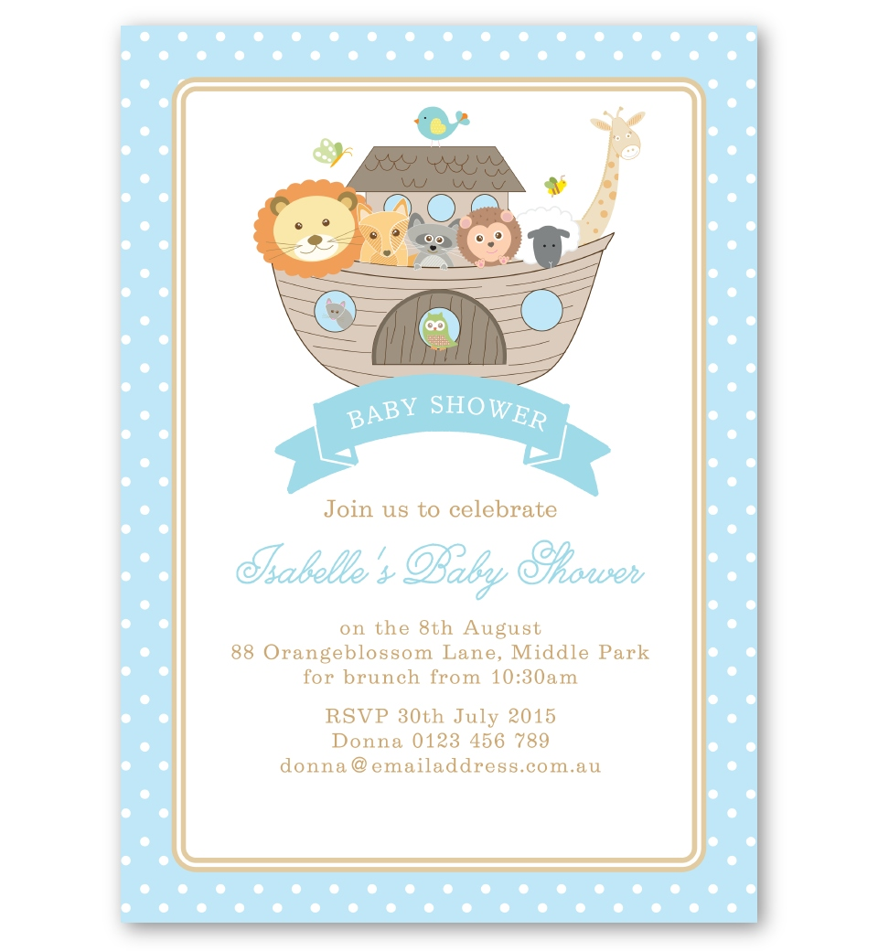 Noah's Ark Blue Baby Shower Invitation. Front
