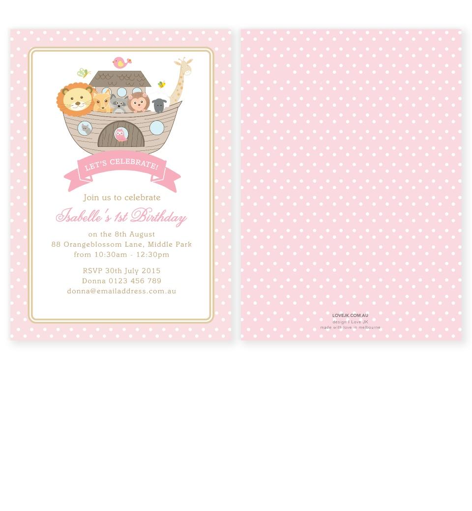 Noah\'s Ark Pink Birthday Invitation | Love JK