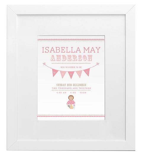 Forest Friends Birth Print - Pink and Taupe