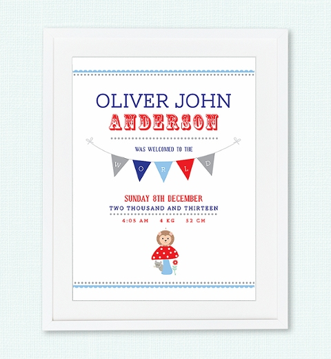 Forest Friends Birth Print - Red and Blue