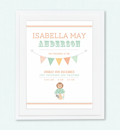 Forest Friends Birth Print - Peach & Sage