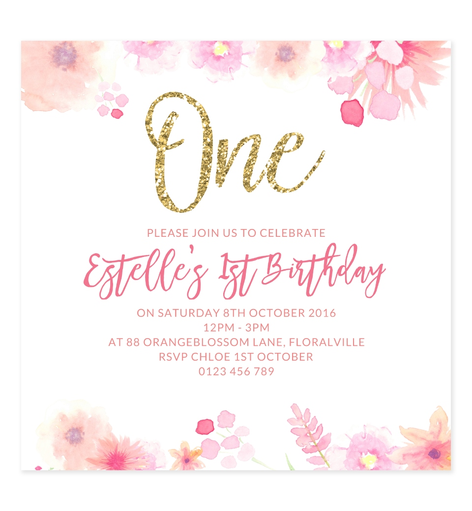 Sweet Florals 1st Birthday Invitation