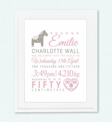 Dala Horse Birth Print - Baby Pink & Taupe