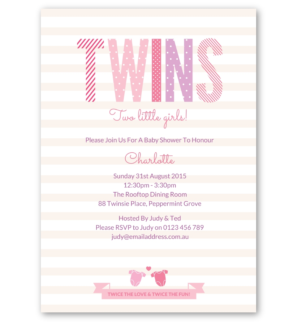 Twins Baby Shower Invitation Girls Love Jk