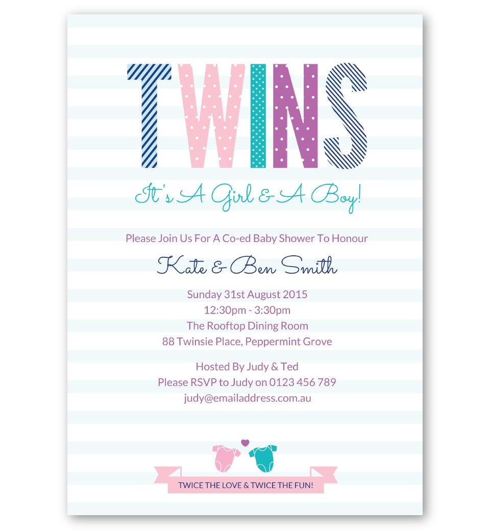 Twins Baby Shower Invitation Boys Girls Love Jk