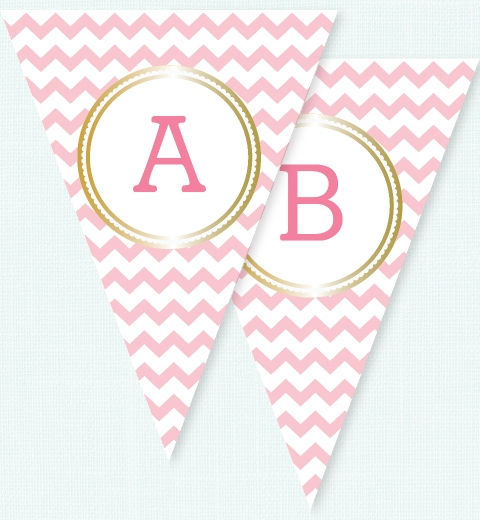 Pink Chevron & Gold Bunting Flags