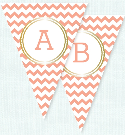 Peach Chevron & Gold Bunting Flags