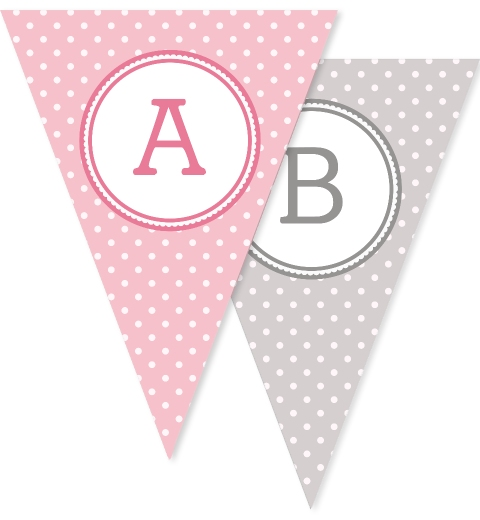 Pink & Grey Polka Dot Bunting Flags