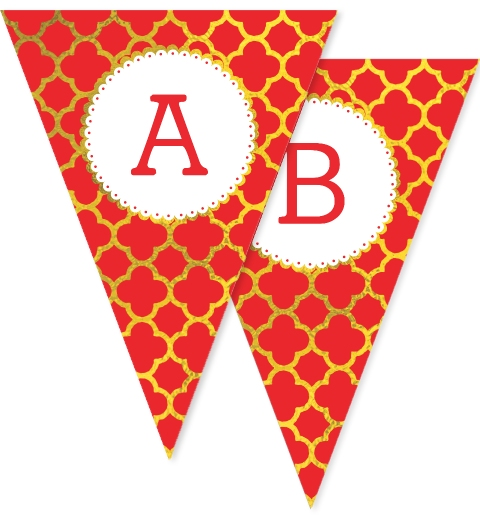 Gold and Red Quatrefoil Christmas Bunting