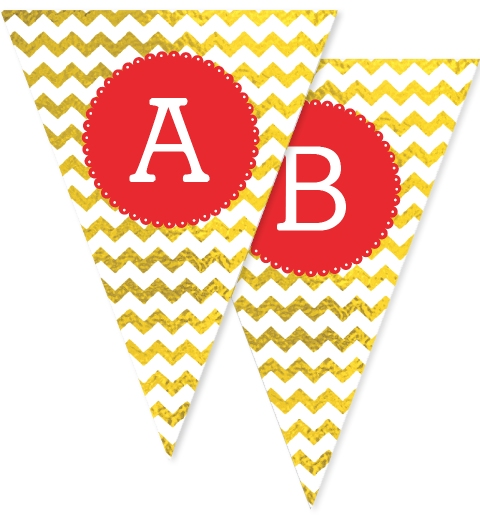 Gold Chevron Christmas Bunting