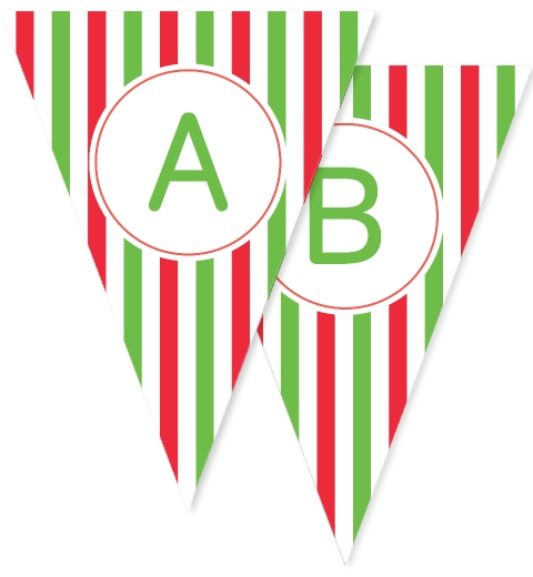 Green & Red Stripes Christmas Bunting
