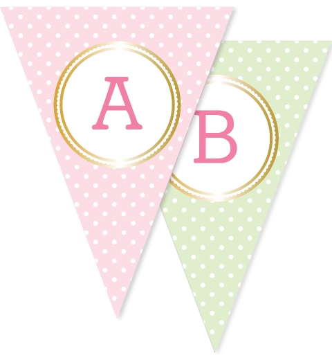 Pink Mint & Gold Polka Dot Bunting Flags