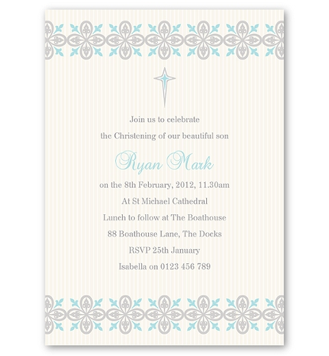 Printer's Ornaments Christening Invitation - Boy