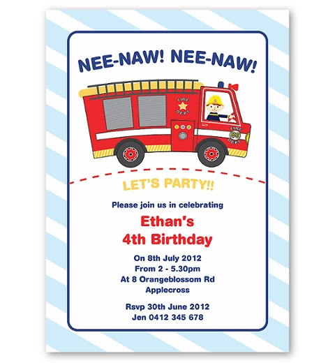 Fire Engine Invitation