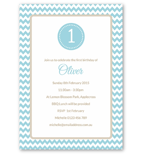 Blue Chevron Birthday Invitation
