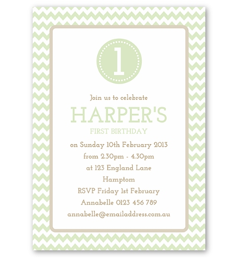 Mint Green Chevron Invitation