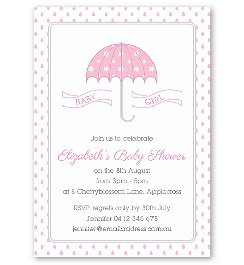 Umbrella Baby Shower Invitation in Pink