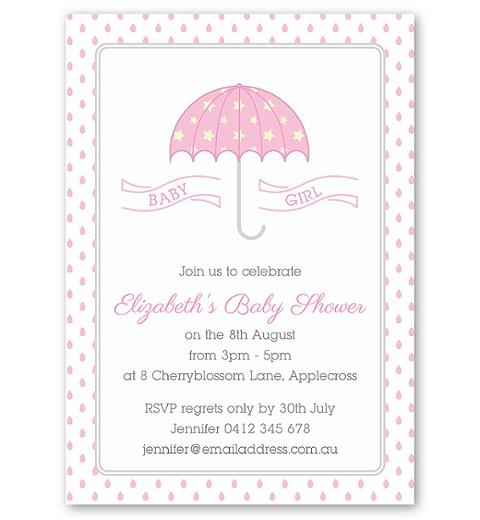 Umbrella Baby Shower Invitation in Pink