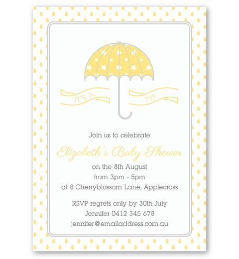 Umbrella Baby Shower Invitation in Yellow