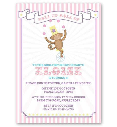 Pink Circus Birthday Invitation