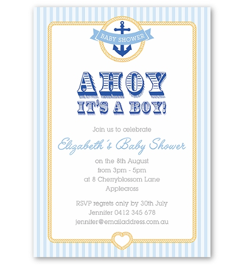 Nautical Baby Shower Invitation for Boys